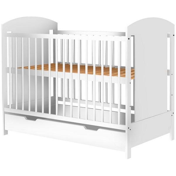 Patut copii din lemn Kamilla 120x60 cm alb cu sertar [0]