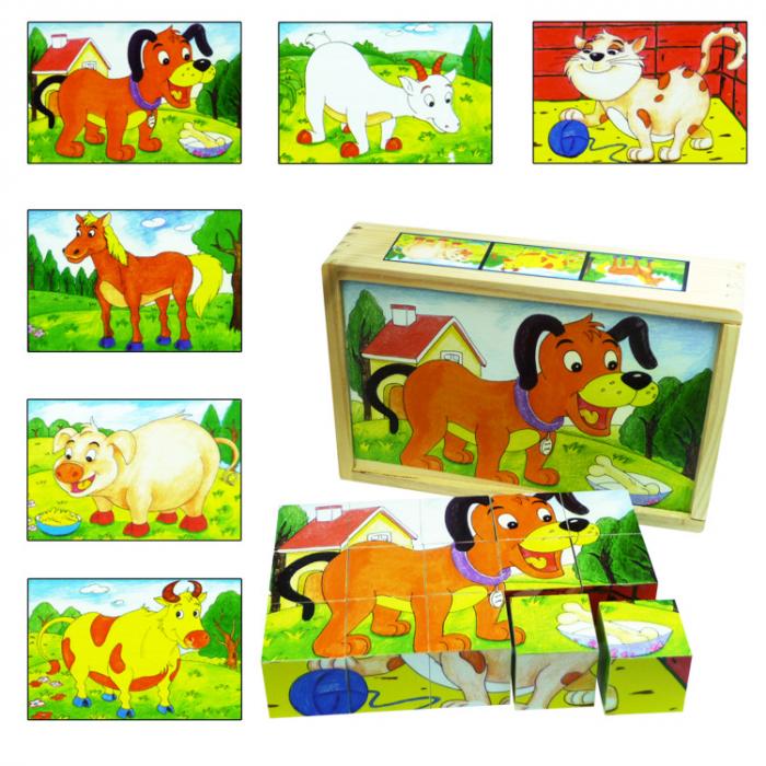 Puzzle cuburi din lemn 15 piese cu animale domestice [0]