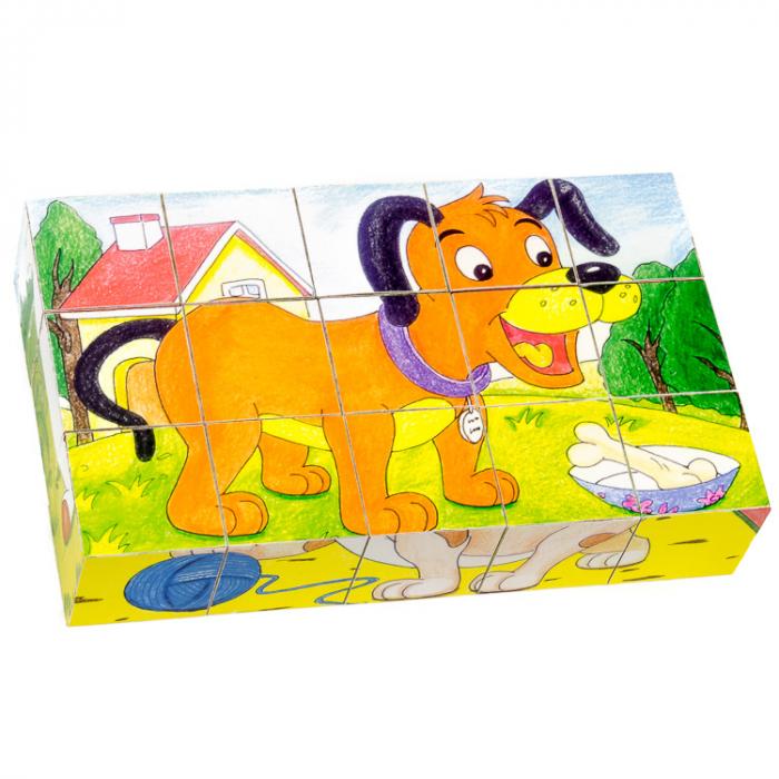 Puzzle cuburi din lemn 15 piese cu animale domestice [2]