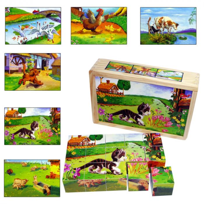 Puzzle cuburi din lemn 15 piese cu animale de ferma [0]