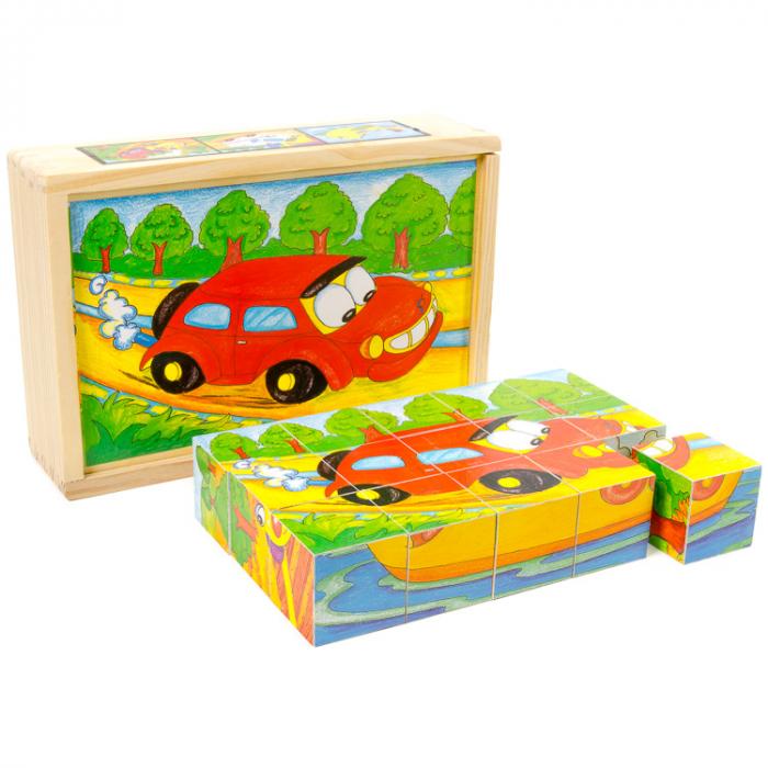 Puzzle cuburi din lemn 15 piese cu vehicule [1]