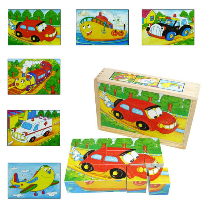 Puzzle cuburi din lemn 15 piese cu vehicule [0]