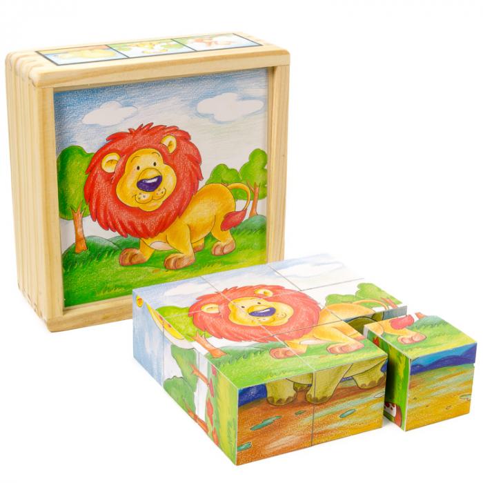 Puzzle cuburi din lemn 9 piese cu animale sălbatice [1]