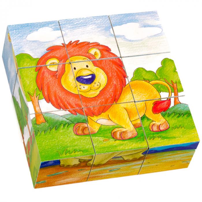 Puzzle cuburi din lemn 9 piese cu animale sălbatice [2]