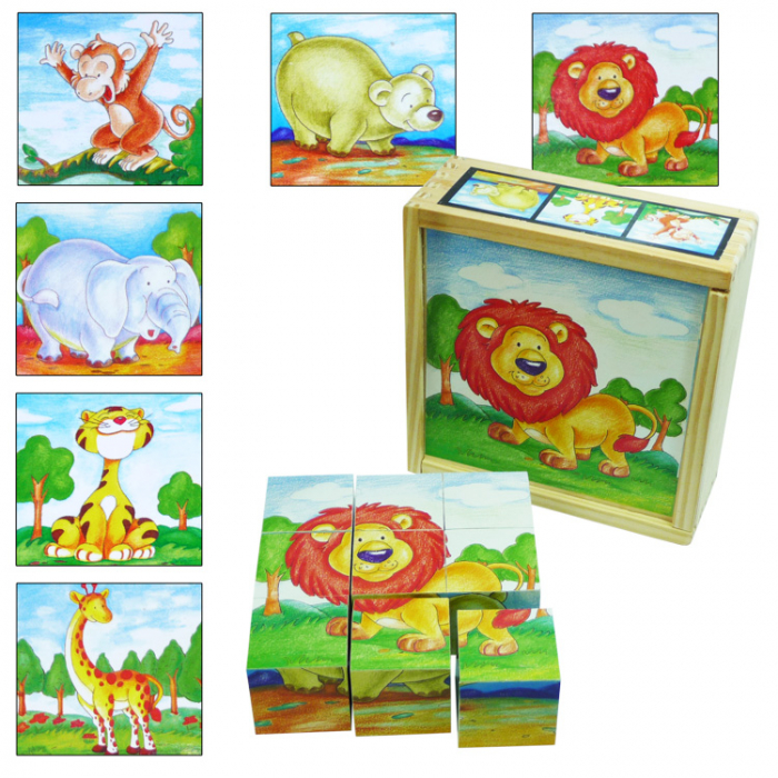 Puzzle cuburi din lemn 9 piese cu animale sălbatice [0]