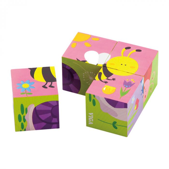 Puzzle cuburi din lemn cu insecte 4 piese [1]