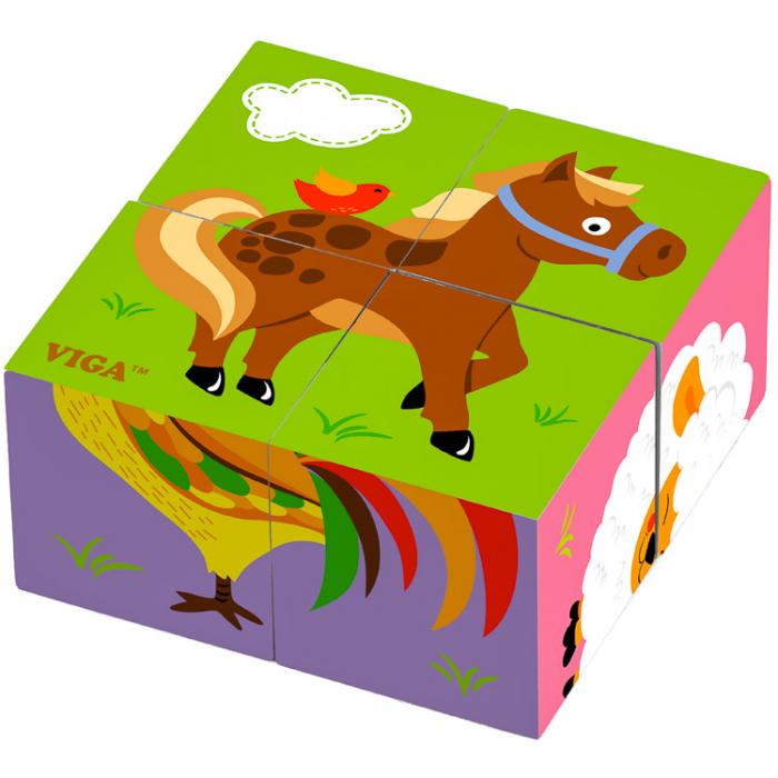 Puzzle cuburi din lemn cu căluţ 4 piese [0]