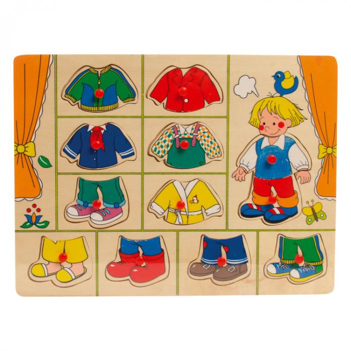 """Puzzle din lemn """"Imbraca baietelul"""" [3]"""