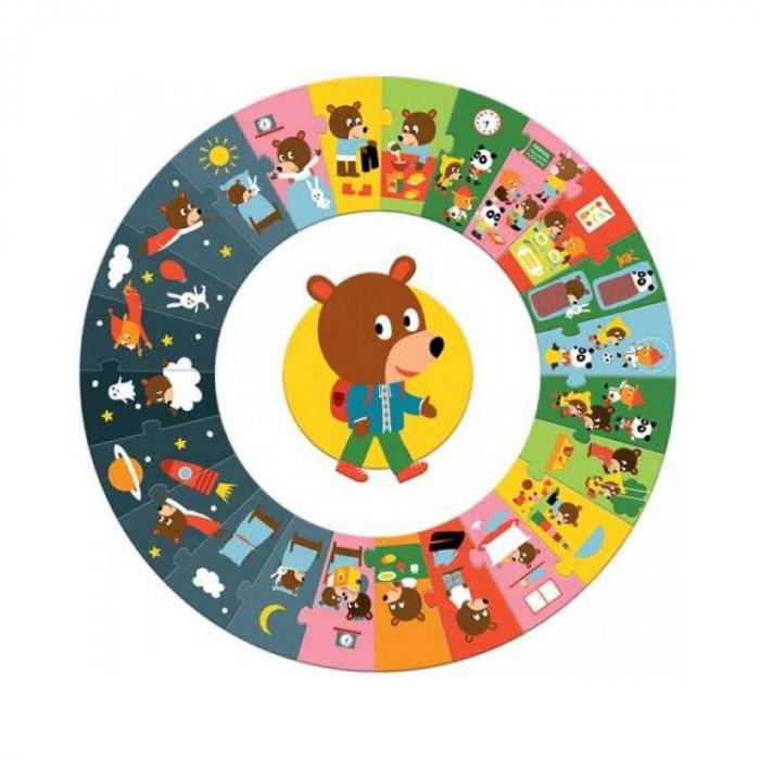 Puzzle gigant cicular 24 piese Djeco, ziua [0]