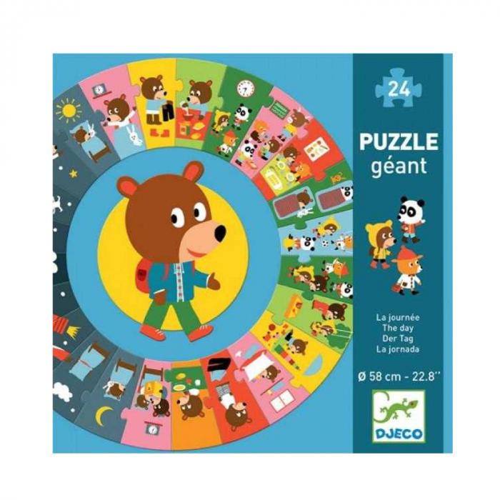 Puzzle gigant cicular 24 piese Djeco, ziua [1]