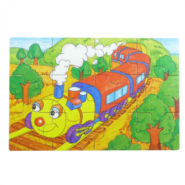 Set 4 puzzle din lemn cu 12 piese (cu vehicule) [2]