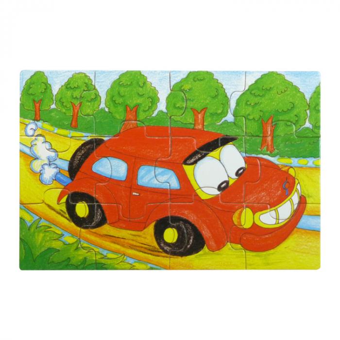 Set 4 puzzle din lemn cu 12 piese (cu vehicule) [5]
