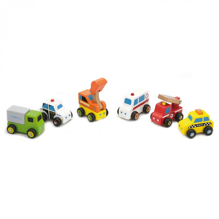 Set 6 mini vehicule din lemn [0]