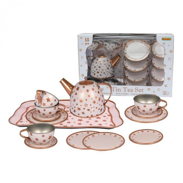 Set de ceai din metal 15 piese alb-auriu cu stelute, Champion [0]