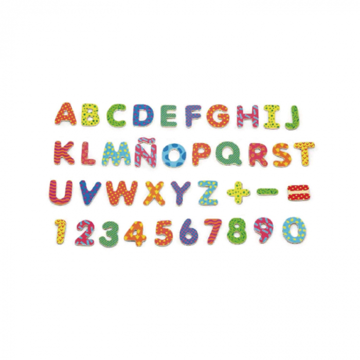 Set de litere si numere magnetice din lemn [0]