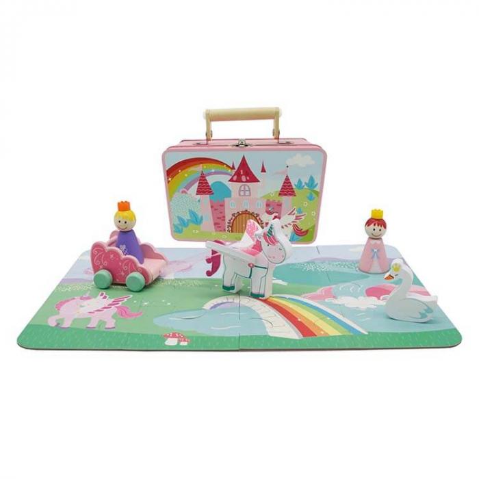 Set unicorn din lemn in cutie metalica [0]
