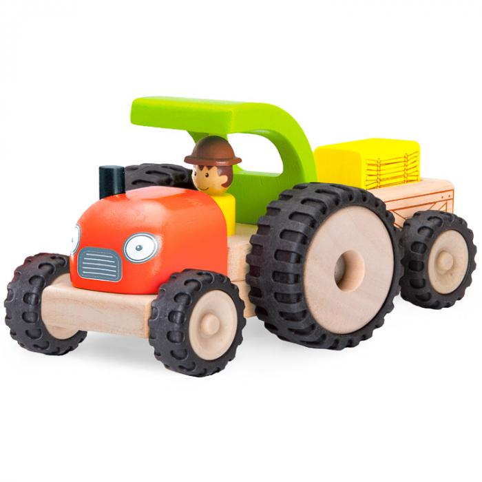 Tractor din lemn cu remorca detasabila, Wonderworld [0]
