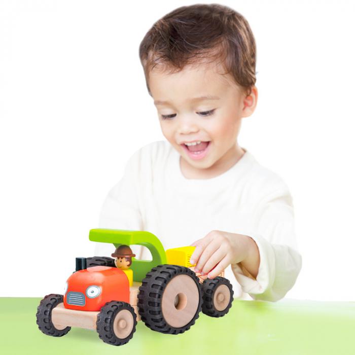 Tractor din lemn cu remorca detasabila, Wonderworld [3]