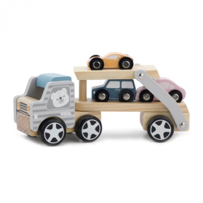 Trailer auto din lemn cu masinute [0]