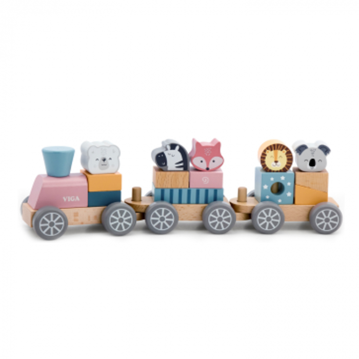 Trenulet din lemn cu cuburi si animale, Polar B [0]