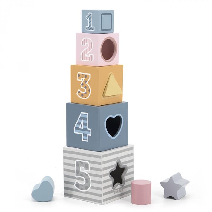 Turn de cuburi montessori cu sortator de forme, Polar B [0]