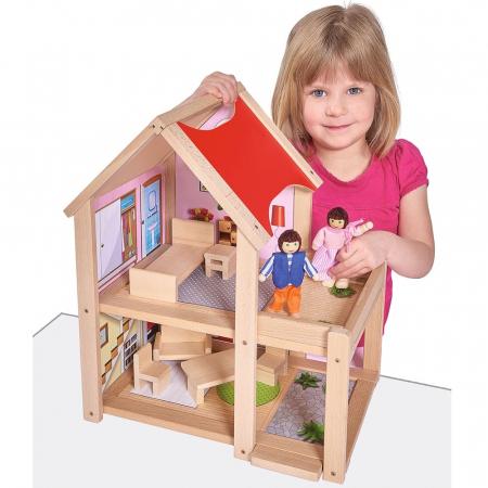 Casa de papusi din lemn cu mobilier si papusi, Eichhorn [6]