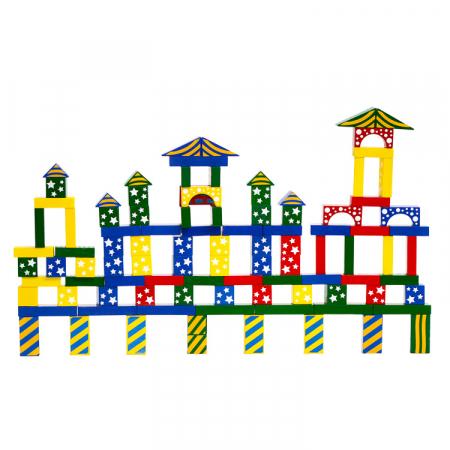 Cuburi de construit colorat cu model, din lemn 100 de piese [1]