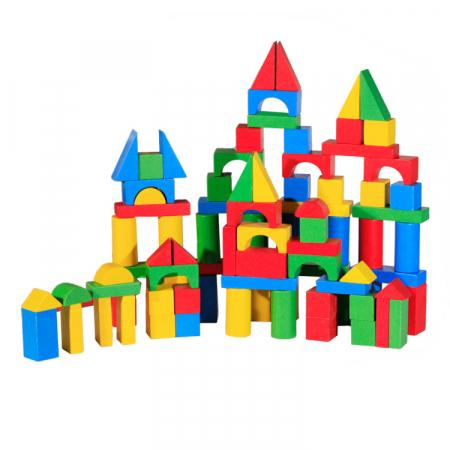 Cuburi de construit colorat din lemn 100 de piese [0]