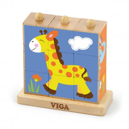Cuburi din lemn Montessori – animale salbatice [0]