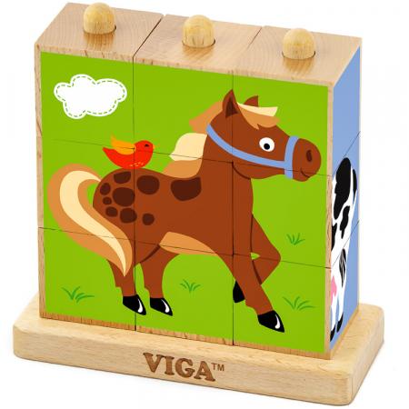 Cuburi din lemn Montessori – farm