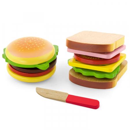 Jucarie set hamburger si sandwich din lemn [0]