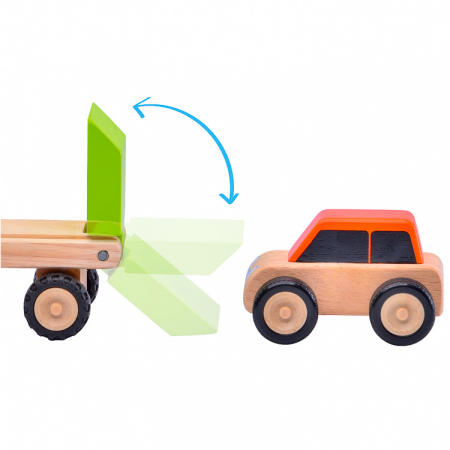 Minitrailer din lemn cu masinuta [2]