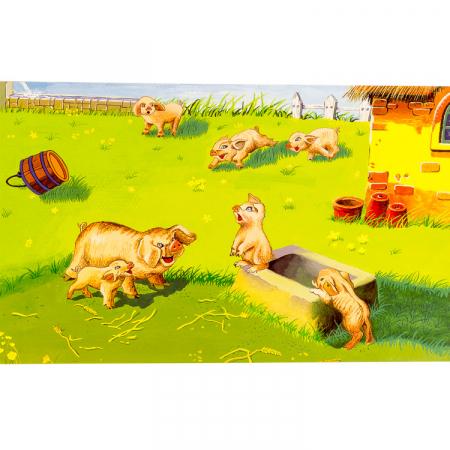 Puzzle cuburi din lemn 15 piese cu animale de ferma [6]