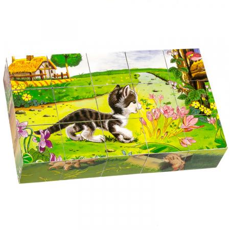 Puzzle cuburi din lemn 15 piese cu animale de ferma [2]