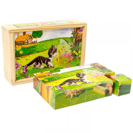 Puzzle cuburi din lemn 15 piese cu animale de ferma [1]