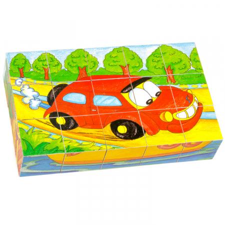 Puzzle cuburi din lemn 15 piese cu vehicule [2]