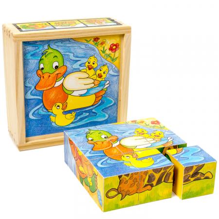 Puzzle cuburi din lemn 9 piese cu animale şi puiuţii lor [1]