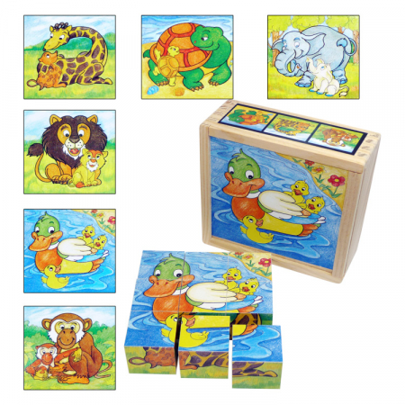 Puzzle cuburi din lemn 9 piese cu animale şi puiuţii lor [0]