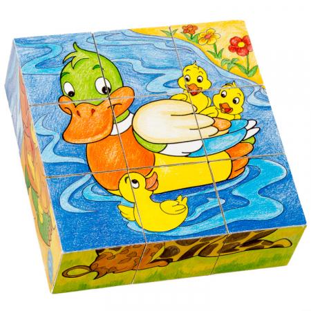 Puzzle cuburi din lemn 9 piese cu animale şi puiuţii lor [2]