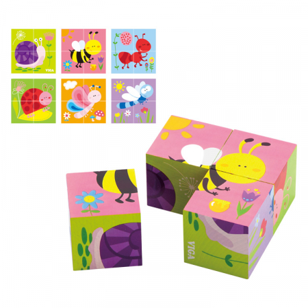 Puzzle cuburi din lemn cu insecte 4 piese [0]