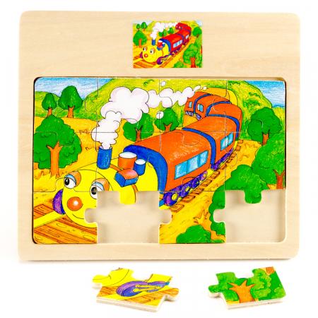 Puzzle din lemn 12 piese cu trenulet [1]