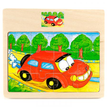 Puzzle din lemn 12 piese cu masina [0]