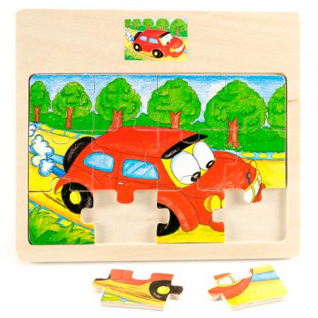 Puzzle din lemn 12 piese cu masina [1]