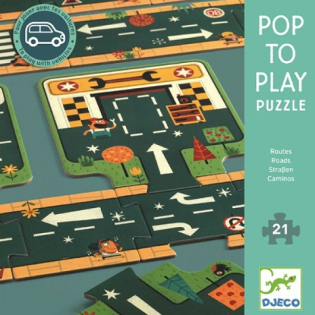 Puzzle gigant 21 piese Djeco Drumuri [0]