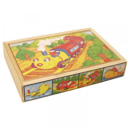 Set 4 puzzle din lemn cu 12 piese (cu vehicule) [1]