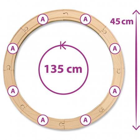 Set trenulet din lemn cu sina circulara si accesorii Eichhorn [2]