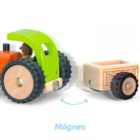 Tractor din lemn cu remorca detasabila, Wonderworld [1]