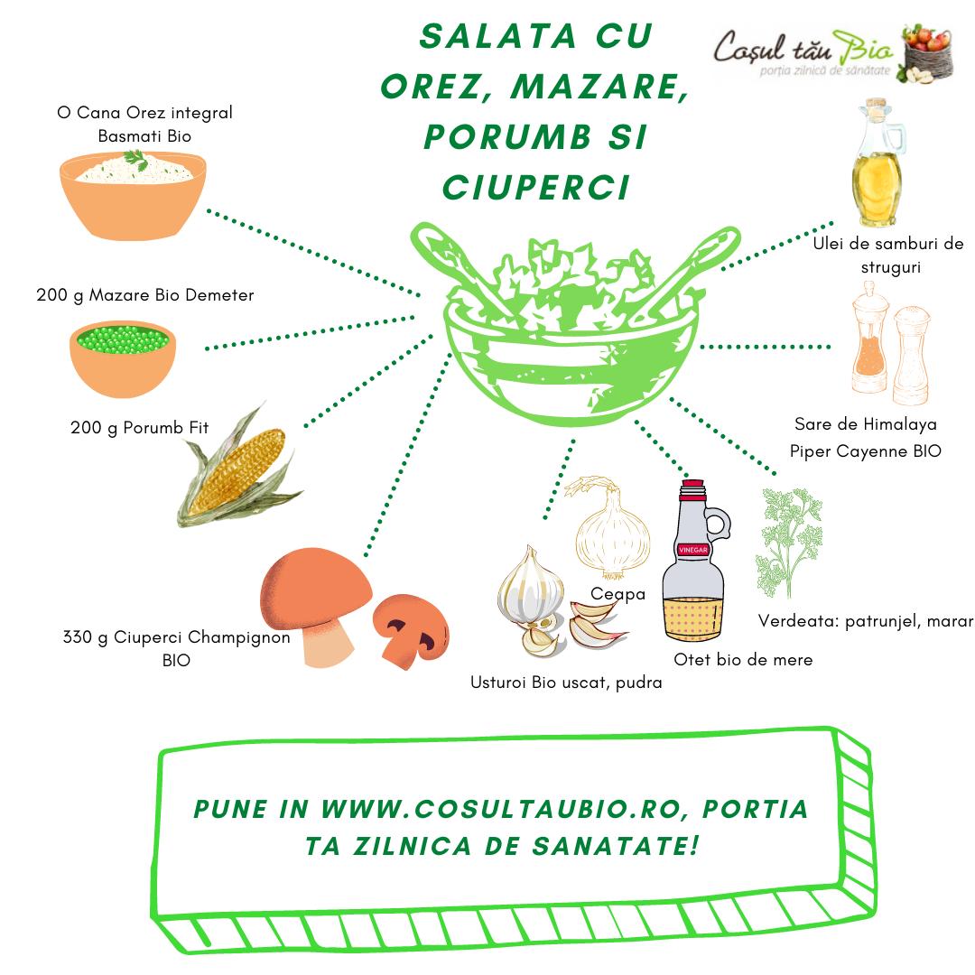 Salata cu orez, mazare, porumb si ciuperci