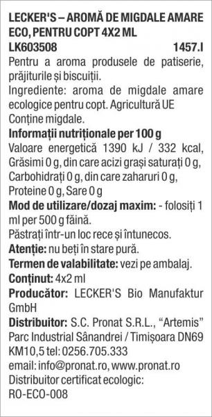 Aroma de migdale amare bio, pentru copt 4x2 ml Lecker's [1]