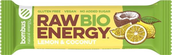 Baton energizant bio, Raw Energy, cu lamaie si nuca de cocos 50g Bombus [0]
